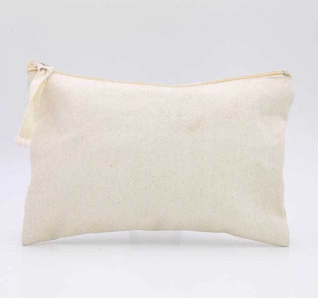 Oivefeet Plain Nature Cotton Canvas Travel Toiletry Bags Makeup Zipper Bag Pouch Cosmetic
