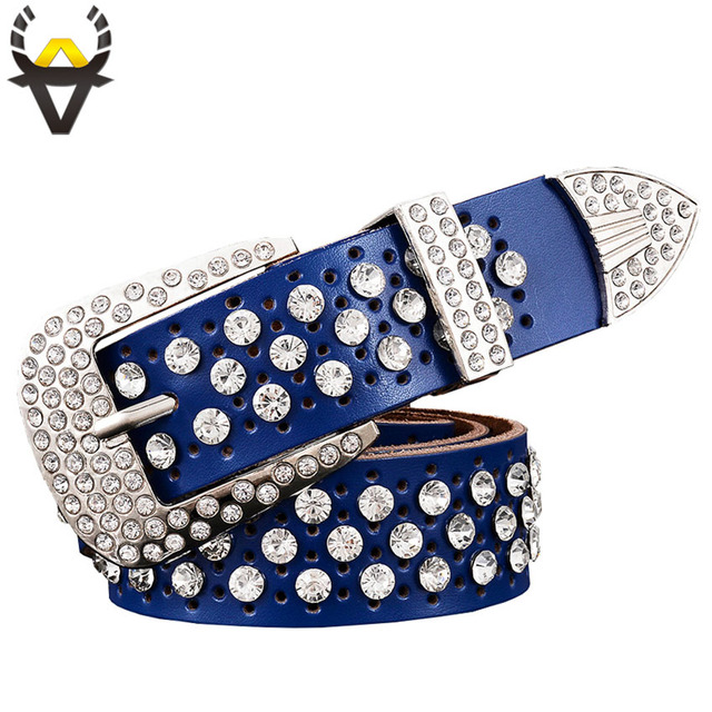 Fashion Rhinestone Genuine leather belts for women Luxury Wide Pin buckle belt woman High quality Second layer Cowskin strap