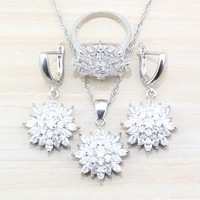 New Trendy Wedding Accessories White With Natural Crystl Dangle Earrings And Necklace/Ring 925 Silver Women Costume Jewelry Sets Fashion Jewelry