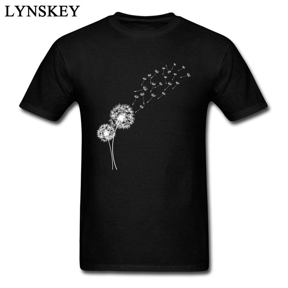 Graines de pissenlit Dans Le Vent Hommes Art Conception T-shirt Unique Cadeau T-shirt Haut des Vêtements de Coton Noir