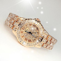 2014 New Women Rhinestone Watches Dress Steel Women Watch Diamond Luxury Brand Bracelet Watch For Ladies