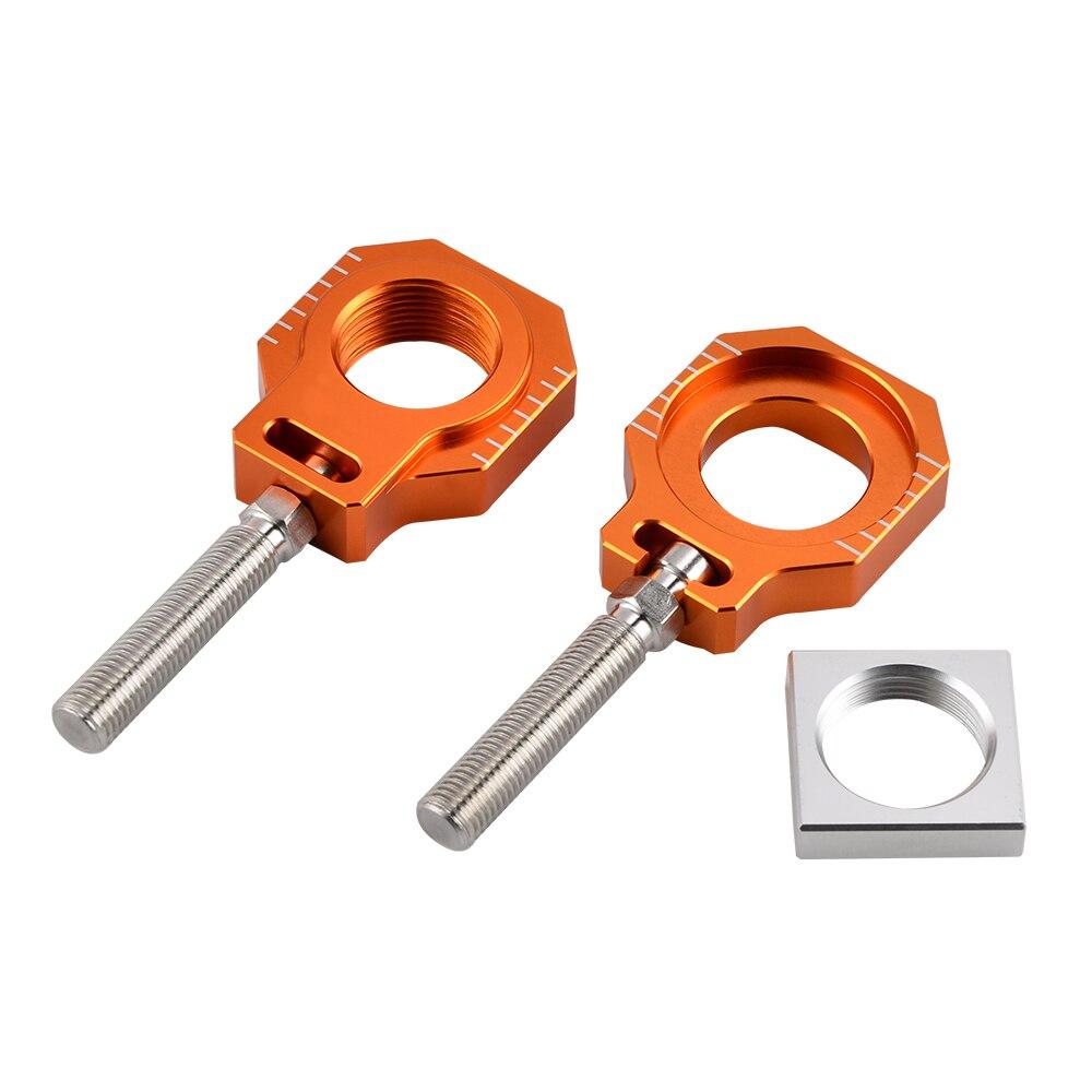 Orange Rear Axle Blocks Chain Adjuster For KTM 125 250 450 SX/SX-F 2000-2012 125-530 EXC EXC-F XC-W XCF-W 2000-2018Orange Rear Axle Blocks Chain Adjuster For KTM 125 250 450 SX/SX-F 2000-2012 125-530 EXC EXC-F XC-W XCF-W 2000-2018