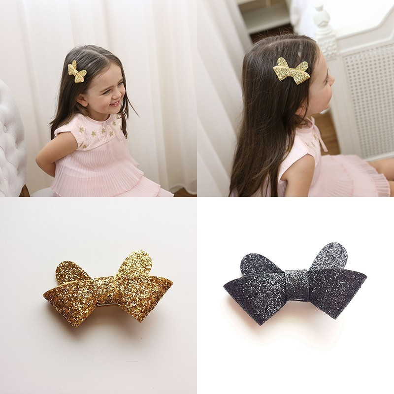 New Cute Black Golden Glittering Ears Bowknot Girls Hair Clips Kids Hairpins Barrettes Children Hair Accessories m mism classic nonwoven flower for kids hairgrip girls children cute hairpins hair accessories head wear hair clips