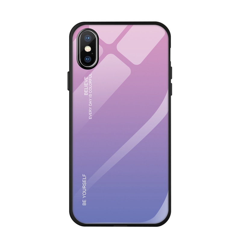 FLOVEME Tempered Glass Case For iPhone 8 7 6s 6 Plus Gradient Color Cover For iPhone XR XS 11 Pro Max X Phone Cases Coque Capa