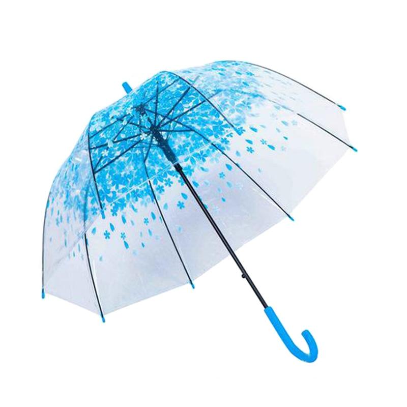 Для женщин дождь Защита от солнца зонтик длинная ручка Cherry Blossom гриб принцесса прозрачный Зонты e2s