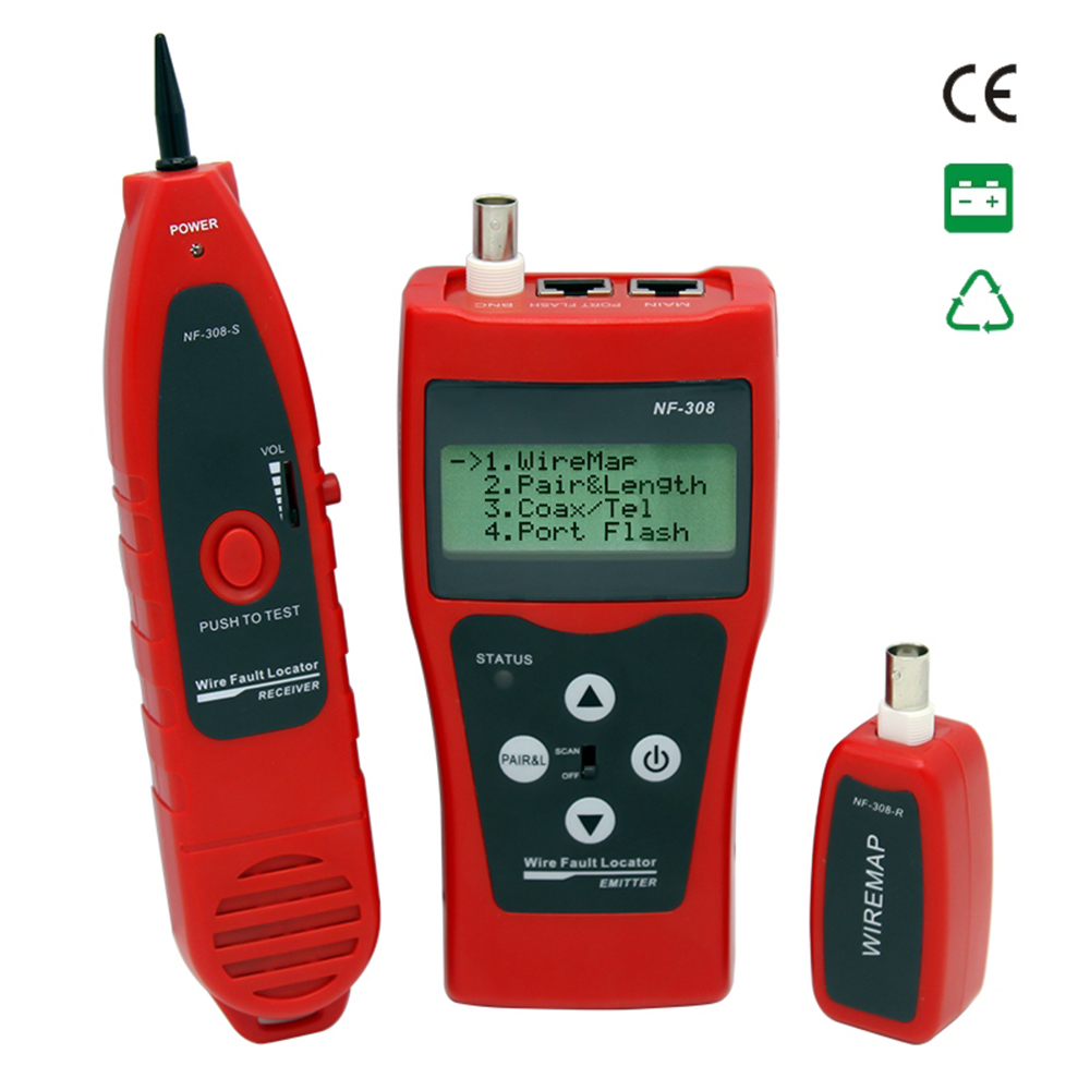 Multi functional LCD Network Cable Tester Line Finder Coaxial Line Tester RJ11 RJ45 Wire Length Finder
