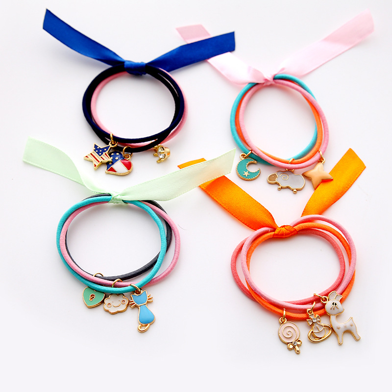 4 PCS Candy Color Ribbon Bow Kids Elastic Hair Band Hair Tie Children Rubber Bands Cat Pendant Multi Shape Girl Accessories metting joura vintage bohemian ethnic tribal flower print stone handmade elastic headband hair band design hair accessories