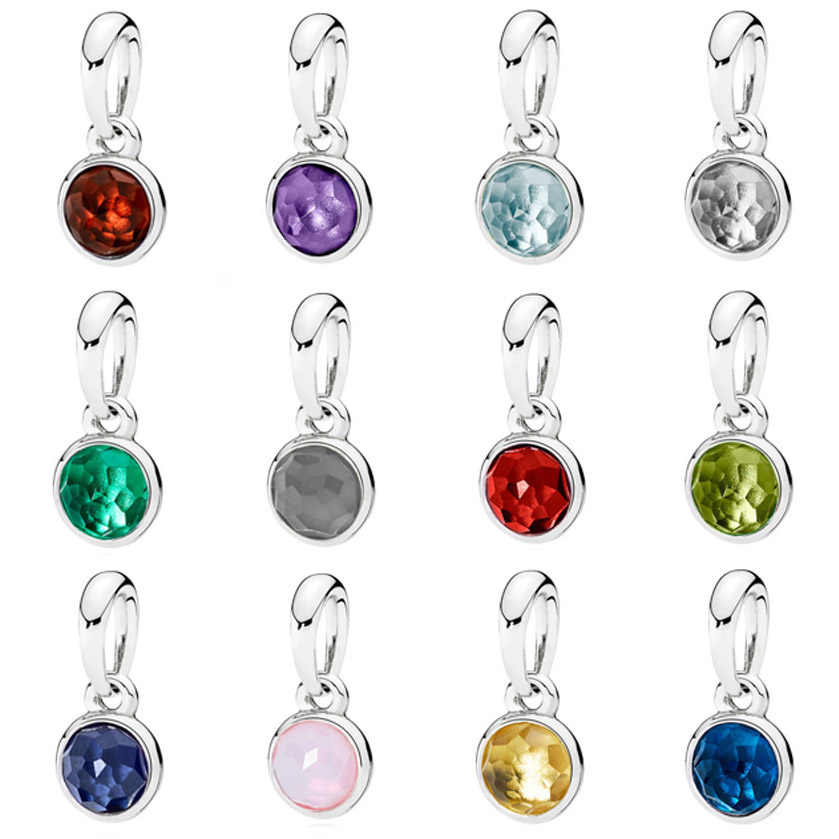 Month Droplet Birthstone With Crystal Necklace Pendant