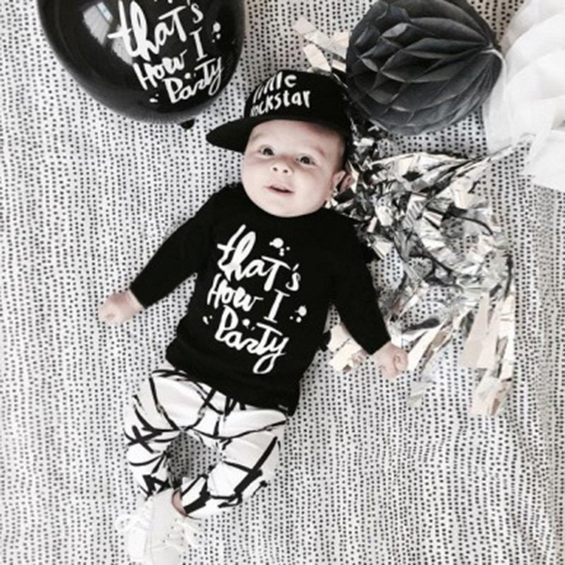 Letters printed baby boy clothes set Fashion cotton long-sleeved party Letter T-shirt+pants 2pcs clothing set