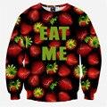 2016 новинка 3D пуловеры смешные толстовки красный EAT ME печать одежда мужчины / женщины свободного покроя толстовки Crewneck топы