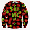 2016 New Fashion 3D Pullovers Funny Sweatshirts Red Fruit Strawberry EAT ME Print Clothes Men/Women Casual Hoodies Crewneck Tops