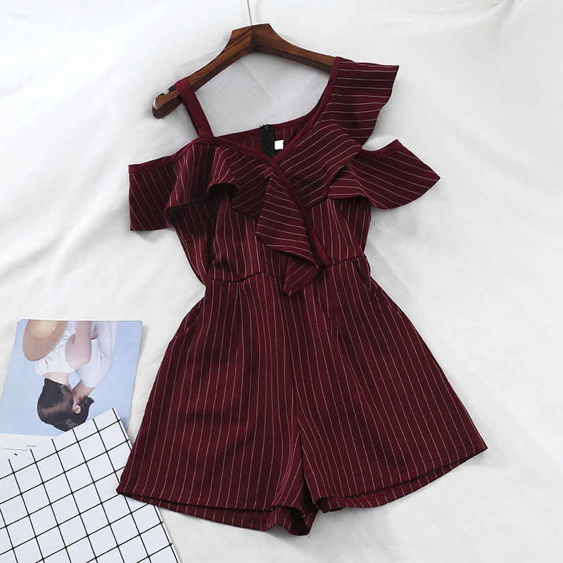 2019 nieuwe mode vrouwen jumpsuits casual losse losse strapless sexy hoge taille wijde pijpen gestreepte jumpsuit