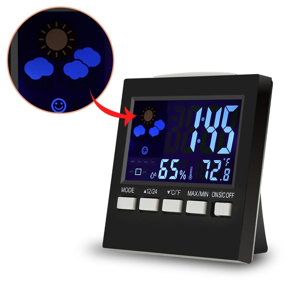 Digital Alarm Clock Indoor/Outdoor Hygrometer Temperature Meter Student LCD Alarm Clock Backlight Desktop LED Digital Clock GHMY
