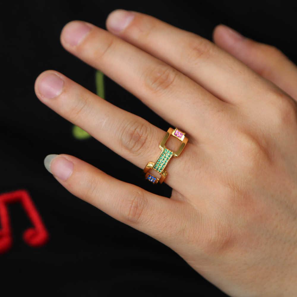 2019 Hip hop rock kubański link łańcucha pierścień dla kobiet mężczyzn złoty kolor micro pave rainbow cyrkonia CZ luksusowe moda biżuteria