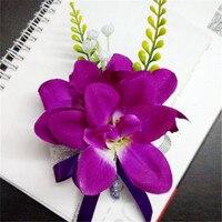 4 Sztuk/partia Fioletowy Best Man stanik dla Boutonnieres Oczyszczenie drużba silk rose flower Wedding akcesoria pin broszka dekoracji