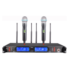 hot deal buy free shipping! uhf wireless microphone mic system dual channels lcd display receiver 2 handheld microphones cable power adapter