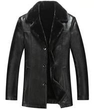 New 2016 Winter Leather Jacket,Fur Thickening Wool Windbreak Waterproof Parka Casual Jaquetas Leather Men Coat Size M-XXXL