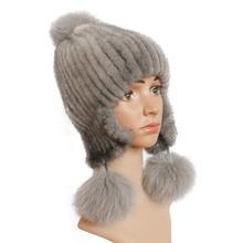 Real women #8217 s fur hats Winter mink fur hat Fox fur ball warm earmuffs hat with ears aviator bomber hats cheap SDMZ8131 Rbyfurs Unisex Solid Adult mink fox