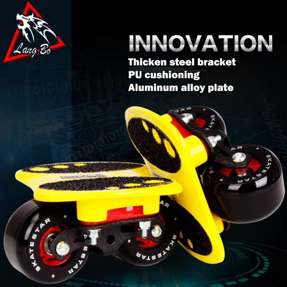 LangBo 10 génération patins à roues libres Anti-choc pad dérive planche gommage alliage d'aluminium Patines 2 roues planche à roulettes FreeStyle