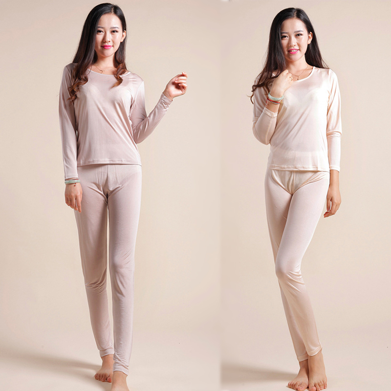 Natural Silk Ladies Health Sleepwear  Autumn Clothes Thermal Top +Long Pants Underwear Set Long Sleeve Bottoming Shirt Leggings