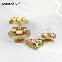 3 Pcs 2 Tier Cupcake Wedding Crystal Decorating Wholesale Gold Tray Cake Stand Set