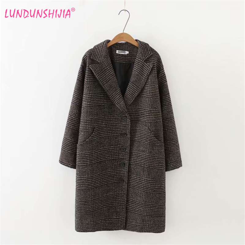 LUNDUNSHIJIA New Arrival 2018 Winter Clothing Woolen Jacket Female Korean Version Of The Long Loose Large