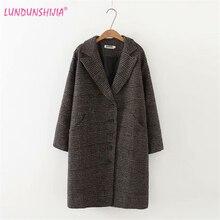 LUNDUNSHIJIA Новое поступление зимняя одежда шерстяная куртка Женская Корейская версия длинного свободного большого размера клетчатое шерстяное пальто