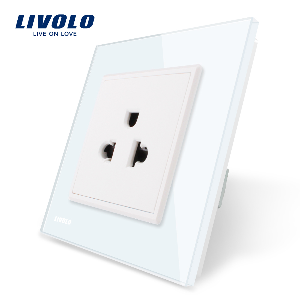Livolo EU Standard US Power Socket, White Crystal Glass Panel, 110~250V 16A Wall Power Outlet, VL-C7C1US-11,80mm*80mm atlantic brand double tel socket luxury wall telephone outlet acrylic crystal mirror panel electrical jack