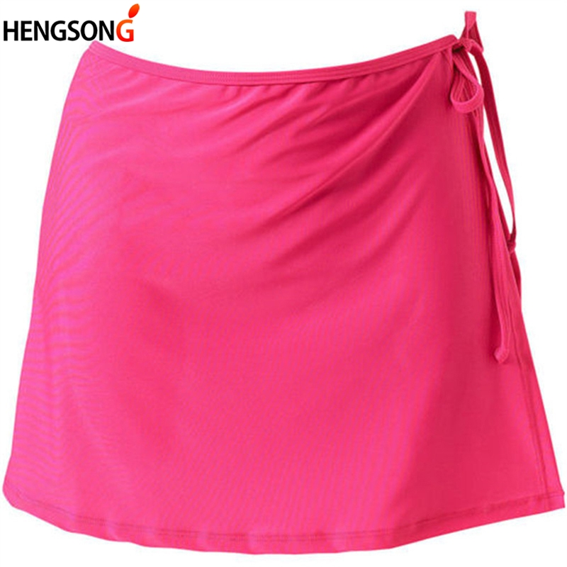 Hengsong 2018 Red Summer Women Fashion Beach Vacation Bikini Skirt Solid Color Lace-Up Mini Skirt Hot Sale 738832