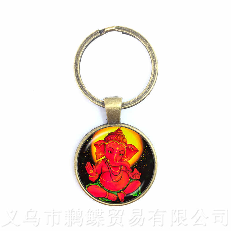 Drop Shipping Ganesha Statue Hindu Ganapati Vinayaka God Keychains,Vintage Lord Ganesha Indian Buddhism Jewelry for Women Men