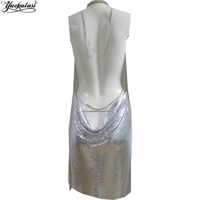 YACKALASI Club Women Party Dress Kendall Jenner Metal Mesh Spaghetti Strap Sheath Draped Hollow Out Spark Diamonds Neck Halter 3