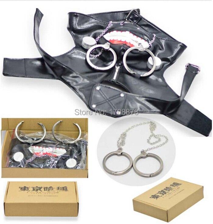 Anime Tokyo Ghoul Kaneki Ken Cosplay Mask Adjustable Zipper Masks PU Leather Cool Mask + Zine Alloy Handcuffs Halloween Costumes