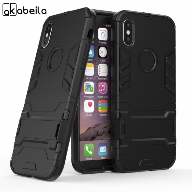 AKABEILA Mobile Phone Protective Cases For Apple iPhone X iPhone 10 iPhone Ten Case PC+TPU Hybrid Robot Armor Cover with Bracket