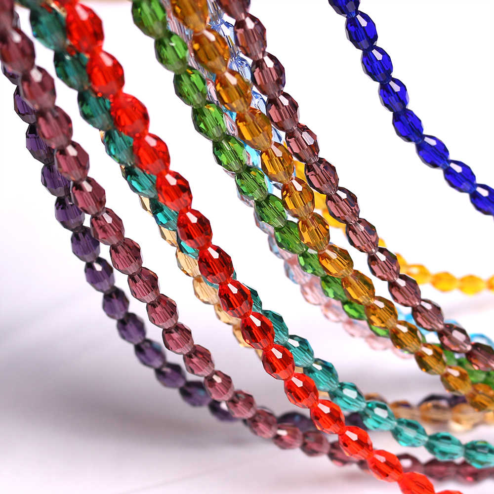 ZHUBI 70pcs/lot Glass Rice Beads 4*6/6*8mm Charm Crystal Faceted Loose Olive Beads For DIY Making Bracelet Wholesale In Bulk