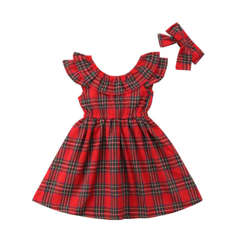 Toddler Baby Girl Plaid Dress Christmas Party Pageant Tutu Holiday Headband Bow Cotton Girls Dresses Kids Clothes girl