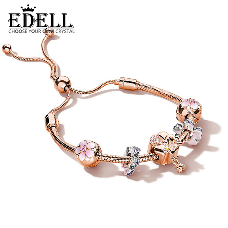 EDELL 100% 925 Sterling Silver Brand New Bracelet Set Magnolia Flower and Ever Blooming Charm Rose Gold Bracelet Set ElegantEDELL 100% 925 Sterling Silver Brand New Bracelet Set Magnolia Flower and Ever Blooming Charm Rose Gold Bracelet Set Elegant