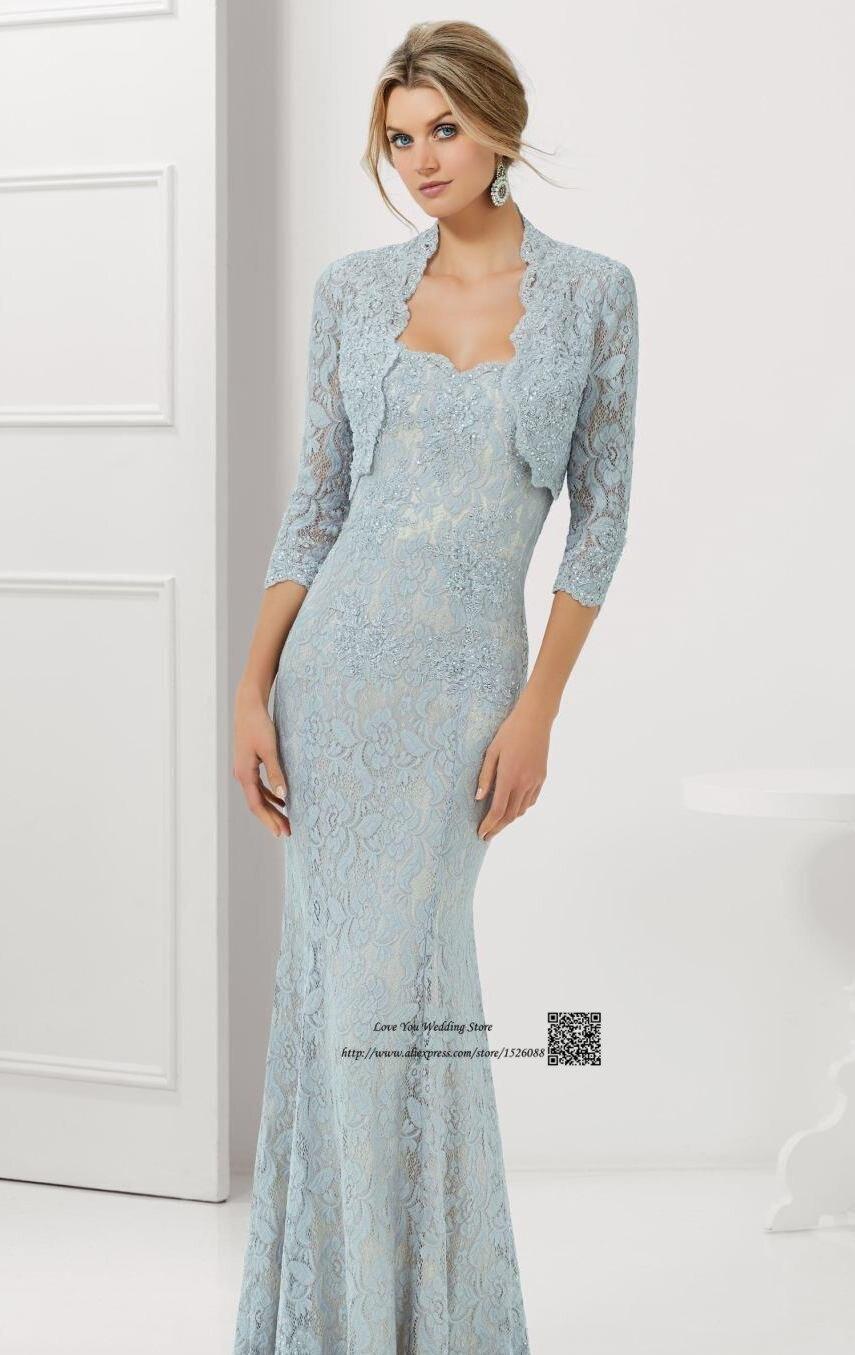 Azul marino de Plata Sirena Madre de la Novia Vestidos de Encaje ...
