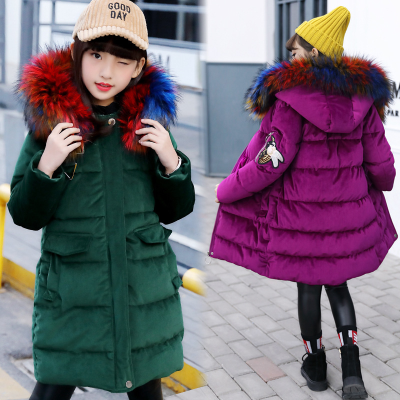 все цены на Girl's New Year Costume 2018 Winter 12-year-old Children's Clothing 13-year-old Jacket 14 Girl's Coat 15 Cotton 10 Down Jacket