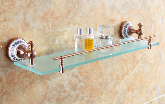 Free shipping brass Single Layer glass shelf shelves rose golden bathroom fittings bathroom accessories DB012G-3-R free shipping golden single bathroom shelf glass shelf brass made base glass shelf bathroom hardware bathroom accessories 67011