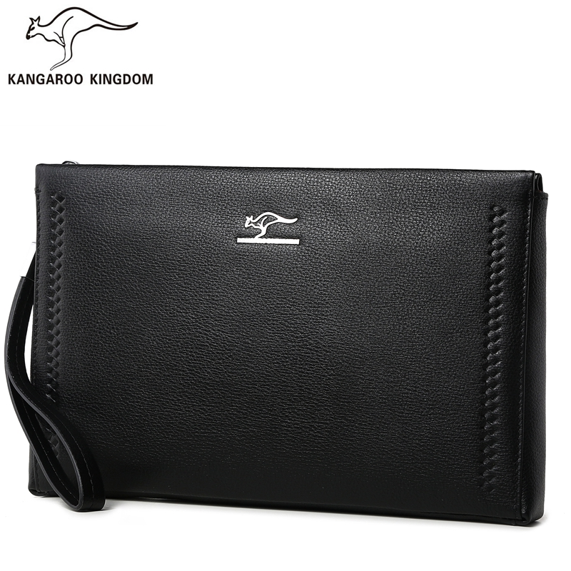 KANGAROO KINGDOM fashion brand men bag genuine leather handbag male envelope clutch bags