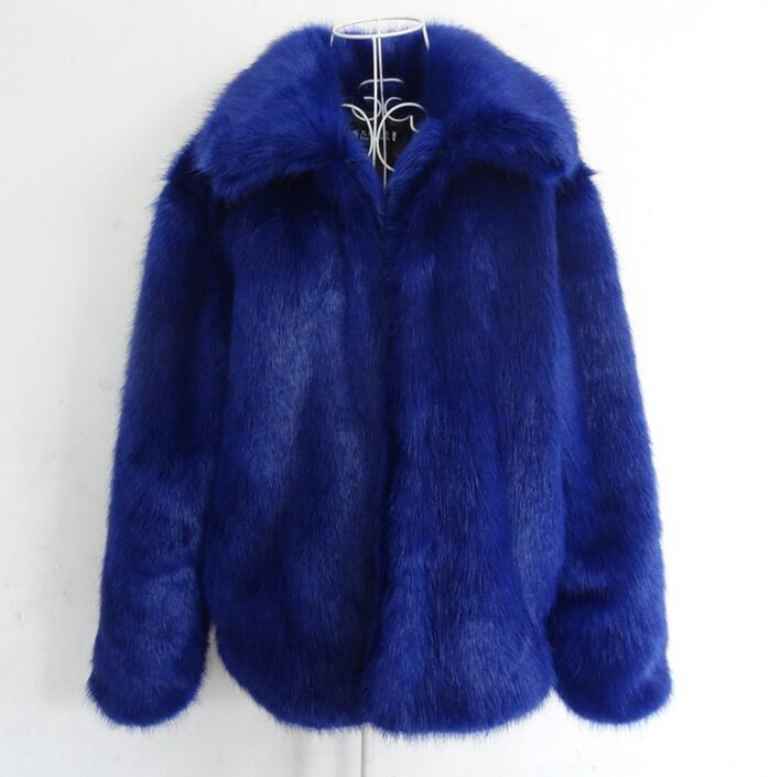 Winter new men fur coats faux fox fur jaqueta couro male leather jacket europe america casaco masculino blue big size S - 5XL