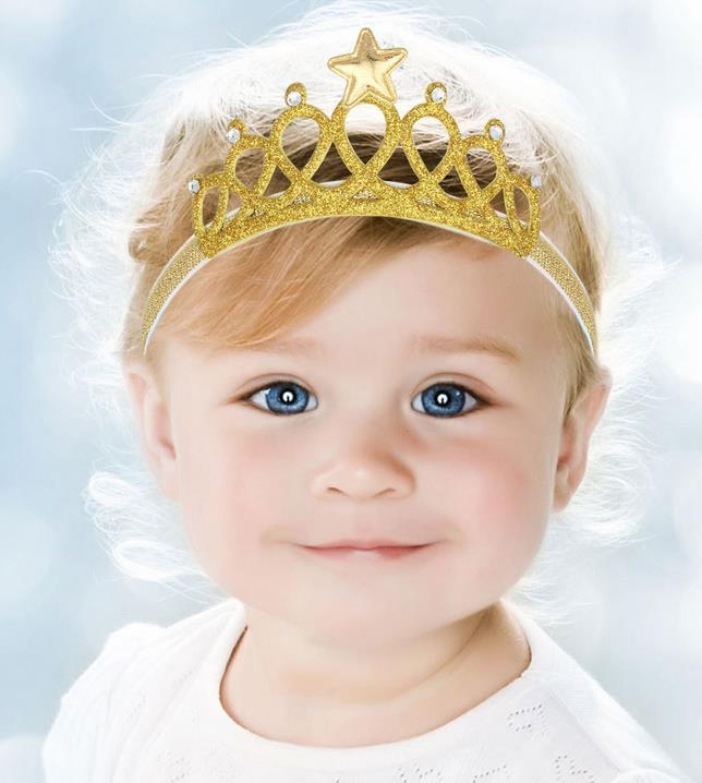 Glitter shiny party crown headband Tiaras baby girl crystal rhinstone star headwear kids toddler Children holiday festive gift