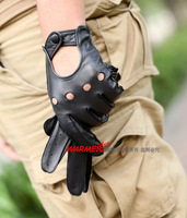 Top Grade Thin Suede genuine leather glove men With cutout Punk glove Luva de couro1 Pair/lots