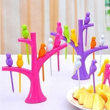Посуда Наборы посуды креативное дерево+ Птицы дизайн пластиковые вилки для фруктов 1 база+ 6 вилок Лидер продаж вилка для овощей