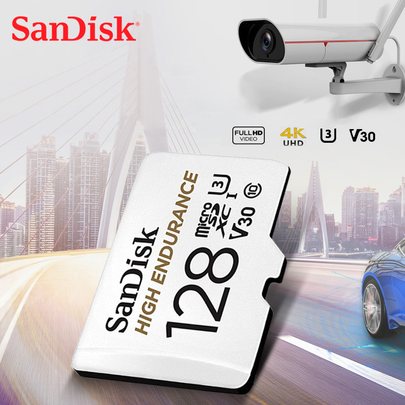 SanDisk HIGH ENDURANCE MicroSD Card 128GB U1 Memory Card Up To 100MB/s 32GB 64GB 256GB Class 10 Video Speed U3 V30 Full HD 4K