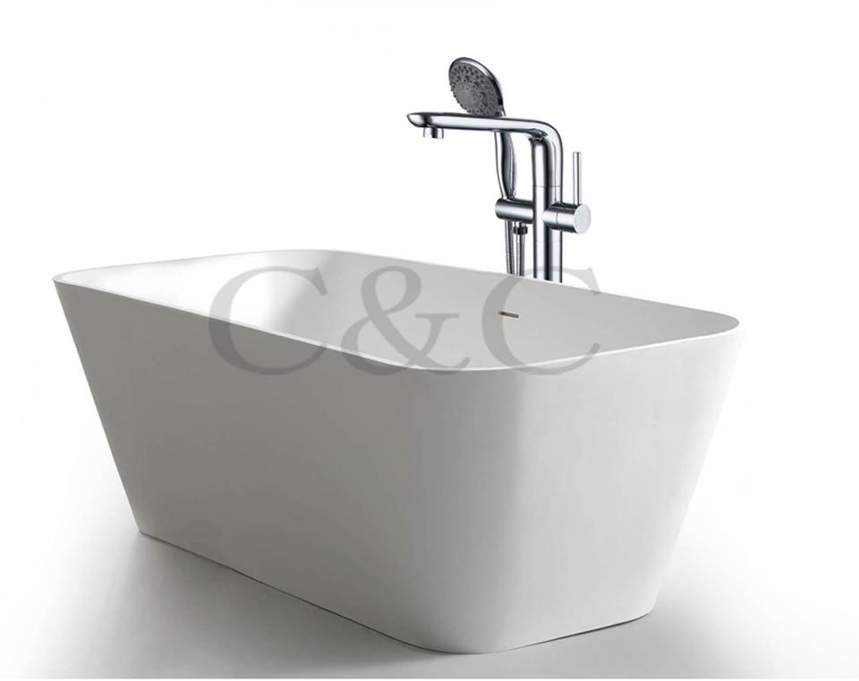Bathroom Floor Standing Bath Tub Faucet Mixer Set & Hand Held Shower ...