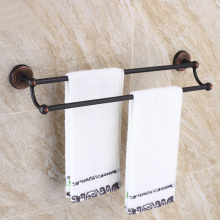 Oil Rubbed Bronze Bathroom Double Towel Bar Wall Mounted Rack Accessories KD954