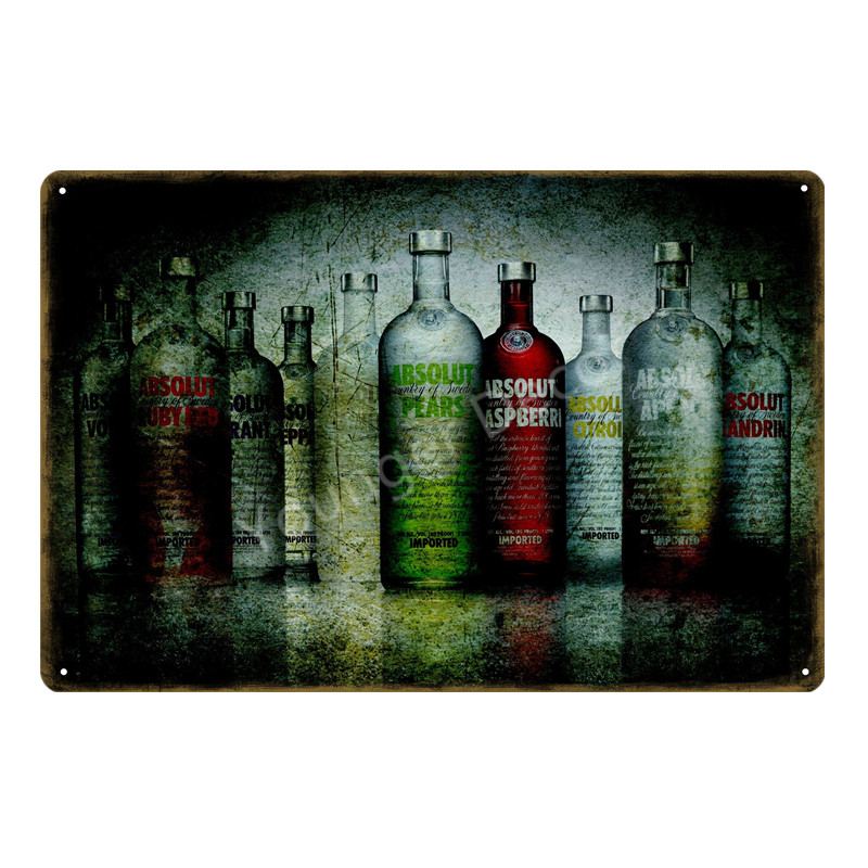 Absolut Vodka Metal Tin Signs Country of Sweden Beer Wine Wall Art ...