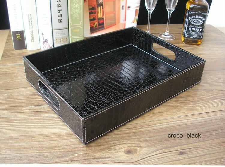 Plateau de service en cuir noir | croco rectangle, plateaux bandejas pour la vaisselle, fruits collations stockage avec poignée découpée 40x30cm - 2