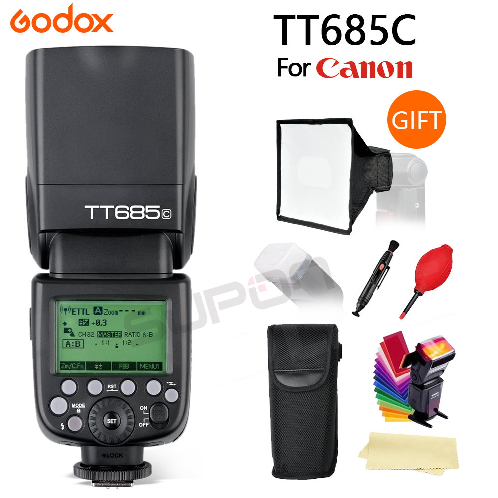 цена Godox TT685 TT685C Speedlight 2.4G Wireless HSS 1/8000s TTL Camera Flash Speedlite + 15*17cm softbox for Canon DSLR Cameras
